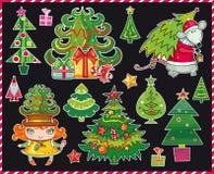 Árvores de Natal ajustadas Fotografia de Stock