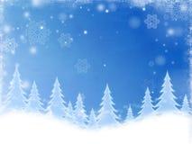 Árvores de Natal branco no azul ilustração stock