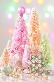 Árvores de Natal coloridas cor pastel Foto de Stock Royalty Free