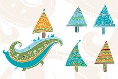Árvores de Natal desenhadas mão ajustadas Imagem de Stock Royalty Free