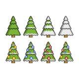 Árvores de Natal do pixel Fotografia de Stock