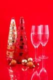 Árvores de Natal e champanhe Fotografia de Stock Royalty Free