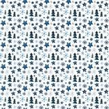 Árvores de Natal, flocos de neve e estrelas, teste padrão ilustração do vetor