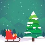 Árvores de Natal na arte do projeto da noite Fotos de Stock
