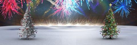 Árvores de Natal na paisagem do inverno com fogos-de-artifício imagens de stock