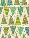 Árvores de Natal no fundo do beije, vetor Imagem de Stock Royalty Free