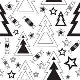 Árvores de Natal preto e branco Fotos de Stock Royalty Free