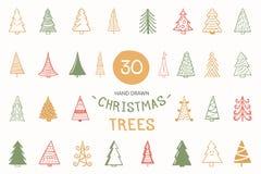 30 árvores de Natal tiradas mão coloridas, ilustração do vetor eps10 ilustração royalty free
