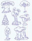Árvores do Doodle Imagens de Stock