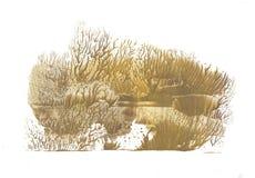 Árvores do outono, floresta, pintura do desenho da abstração fotografia de stock