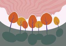 Árvores do outono no parque. Paisagem dos desenhos animados do vetor. ilustração stock
