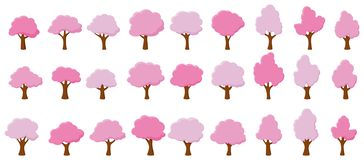 Árvores do rosa de jardim dos desenhos animados ilustração do vetor
