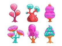 Árvores doces dos doces dos desenhos animados Imagens de Stock Royalty Free