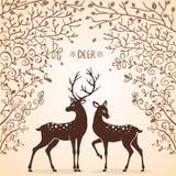 Árvores dos cervos ilustração do vetor
