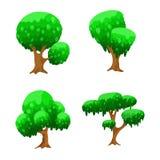 Árvores dos desenhos animados, árvores ajustadas do vetor para o projeto de jogo ilustração stock