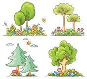 Árvores dos desenhos animados com flores Fotos de Stock