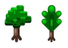 Árvores dos desenhos animados isoladas no fundo branco Fotografia de Stock Royalty Free
