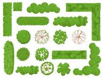Árvores e arbustos da vista superior A árvore de floresta, o arbusto verde do parque e os elementos do mapa da planta olham de ci ilustração stock