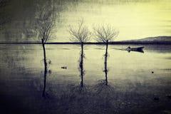 Árvores e barco do lago foto de stock