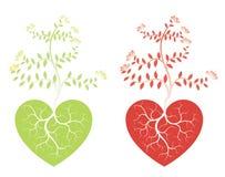 Árvores e corações do amor ilustração do vetor