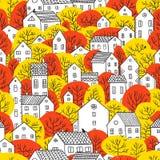 Árvores e do outono sem emenda do teste padrão das casas cores amarelas vermelhas Foto de Stock Royalty Free