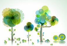 Árvores e escova criativas ilustração do vetor