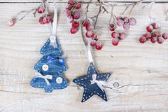 Árvores e estrelas de Natal em um ramo com bagas Fotografia de Stock Royalty Free