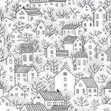 Árvores e inverno sem emenda do teste padrão das casas Fotos de Stock