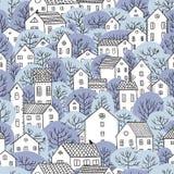 Árvores e luz sem emenda do inverno do teste padrão das casas - cores azuis Fotos de Stock Royalty Free