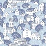 Árvores e luz sem emenda do inverno do teste padrão das casas - cores azuis Foto de Stock Royalty Free
