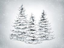 Árvores e neve de Natal ilustração royalty free