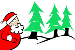 Árvores e neve de Natal de Papai Noel Foto de Stock