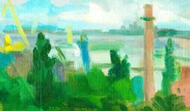 Árvores e nuvens do mar da pintura a óleo Impressionismo moderno ilustração royalty free