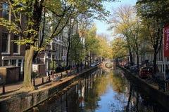 Árvores e ponte do outono em Amsterdão, Holanda Fotos de Stock Royalty Free