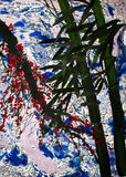 Árvores e ramo de bambu das ameixas Fotografia de Stock