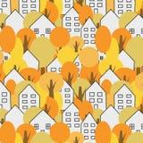 Árvores e teste padrão sem emenda das casas outono, paisagem da cidade da queda Pode ser imprimido e usado como o papel de envolv ilustração do vetor