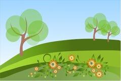 Árvores em um campo Ilustração Stock