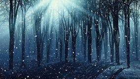 Árvores em um dia nevado nevoento ilustração royalty free