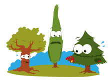 Árvores engraçadas no problema ilustração stock