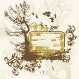Árvores, flor, pássaros de vôo Fotografia de Stock