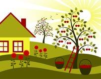 Árvores, flores e casa de campo de cereja ilustração do vetor