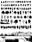 Árvores, grama, vetor da planta Imagens de Stock Royalty Free