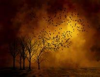 Árvores inoperantes sinistras, fundo dos pássaros Foto de Stock