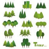 Árvores isoladas no fundo branco Grupo bonito de árvores do verde do vetor no grupo ilustração stock