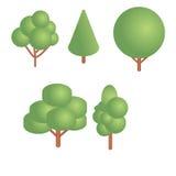 Árvores isométricas ajustadas Imagens de Stock Royalty Free