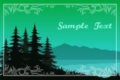 Árvores, lago e montanhas Imagem de Stock