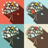 Árvores lisas do vetor do projeto ajustadas Fotografia de Stock