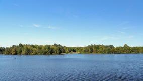 Árvores na costa de um lago azul no fim do verão Imagens de Stock Royalty Free