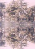 Árvores na reflexão do lago ilustração royalty free