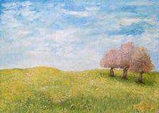 Árvores no campo verde, pintura a óleo imagem de stock